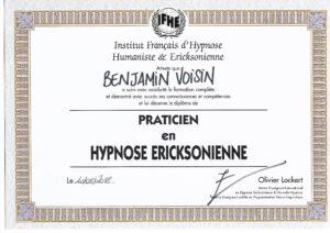 Diplôme - IFHE - Praticien en Hypnose Ericksonienne